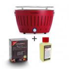 Set LotusGrill rot inkl. Brennpaste (200ml) und Kohle (1kg)