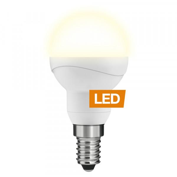 LEDON LED-Lampe Tropfenform P45 E14 5W dimmbar an mit Logo